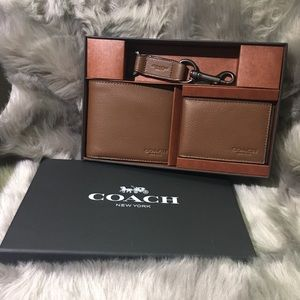 new coach men's wallet and keychain set